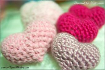 หัวใจอวบอั๋นด้วยโครเชต์-Heart-Crochet ไหมกำมะหยี่ ไหมขนแกะ ไหมสำลี