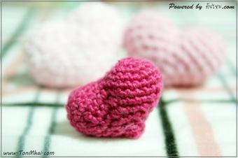 หัวใจอวบอั๋นด้วยโครเชต์-Heart-Crochet ไหมสำลี
