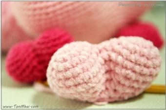 หัวใจอวบอั๋นด้วยโครเชต์-Heart-Crochet ไหมกำมะหยี่ ระหว่างถักชิ้นงาน