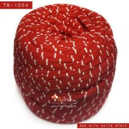 ไหมผ้า (T-shirt yarn) สีแดงคาดขาว (Red with White Strip)