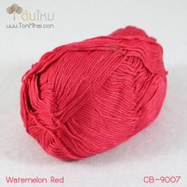 ไหมพรม คอตต้อน แบมบู สีแดงแตงโมสด (Watermelon Red)