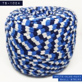 ไหมผ้า (T-shirt yarn) สีริ้วเล็ก ขาว-น้ำเงิน-กรมท่า (White-Blue-Navy Small Stripe)