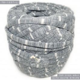 ไหมผ้า (T-shirt yarn) สีเทาท๊อปดาย คาดริ้วขาวเล็ก (Top Dyed Gray with small White Stripe)