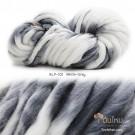 ไหมพรมเกาหลี บิ๊กลูป (Korean Big Loop) สีขาว-เทา (White-Gray)
