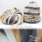 ไหมพรมเกาหลี บิ๊กลูป (Korean Big Loop) สีเทา-ขาวครีม-น้ำตาลครีม (Gray - White - Brown Cream)