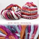 ไหมพรมเกาหลี บิ๊กลูป (Korean Big Loop) สีสวีทชิล ขาว-แดง-กุหลาบ-เทา (Sweet Chill - White-Red-Rose-Gray)