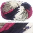 ไหมพรมเกาหลี บิ๊กลูป (Korean Big Loop) สีขาว-เทา-เชอรี่-น้ำเงินอมม่วง (White-Gray-Cherry-VioletBlue)