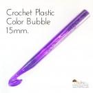 เข็มโครเชต์ พลาสติกสีใส ลายบับเบิ้ล เบอร์ใหญ่ 15mm.
