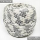 ไหมผ้า (T-shirt yarn) สีช่องขาวสลับเทา แถบยาวกลางๆ (White & Gray Medium Stripe)