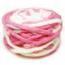 ไหมพรมอูด้ง สีขาวครีม/ชมพูหวานสดใส (White Cream / Fresh Sweet Pink)