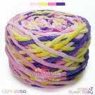 ไหมพรมอูด้งลิตเติ้ล รุ่นเส้นกลมเนื้อเนียน สีสวีทเบบี้ ชมพูอ่อน / เหลืองอ่อน / ชมพูหวาน / ม่วงหวาน (SWEET BABY Light Pink / Yellow / Sweet Pink / Purple) (ก้อนใหญ่ 160g.)