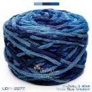 ไหมพรมอูด้งลิตเติ้ล รุ่นเส้นกลมเนื้อเนียน สีฟ้าน้ำเงินสามสีไล่สี (Three Blue Gradient) (ก้อนใหญ่ 160g.)