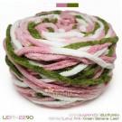 ไหมพรมอูด้งลิตเติ้ล รุ่นเส้นกลมเนื้อเนียน สีดอกบัวใบตอง ขาว / ชมพูดอกบัว / เขียวใบตอง (White / Lotus Pink / Green Banana Leaf) (100g.)